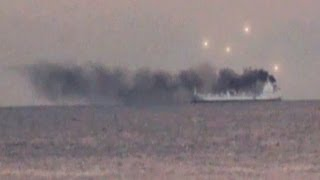 UFO SIGHTING UFOs APPEAR OVER SMOKING SHIP IN CALIFORNIA