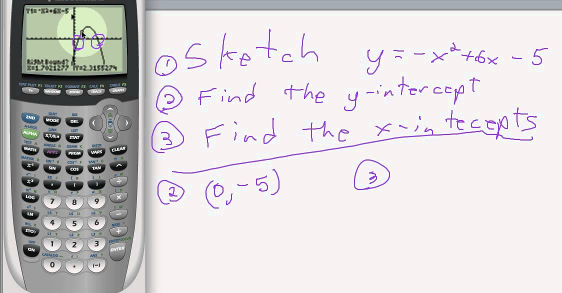 how to find y intercept on class pad