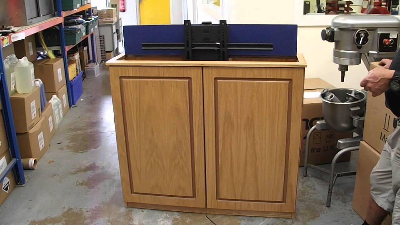 pop up tv flat screen tv cabinet youtube. Black Bedroom Furniture Sets. Home Design Ideas