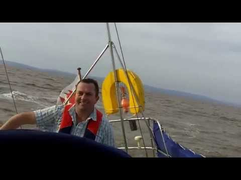 Motoring on Yacht Atiqa out of Cardiff bay at low water