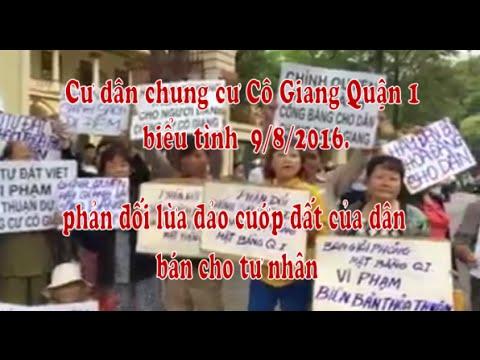 Cư dân chung cư Cô Giang biểu tình Q.1 Biểu tình phản đối cướp đất