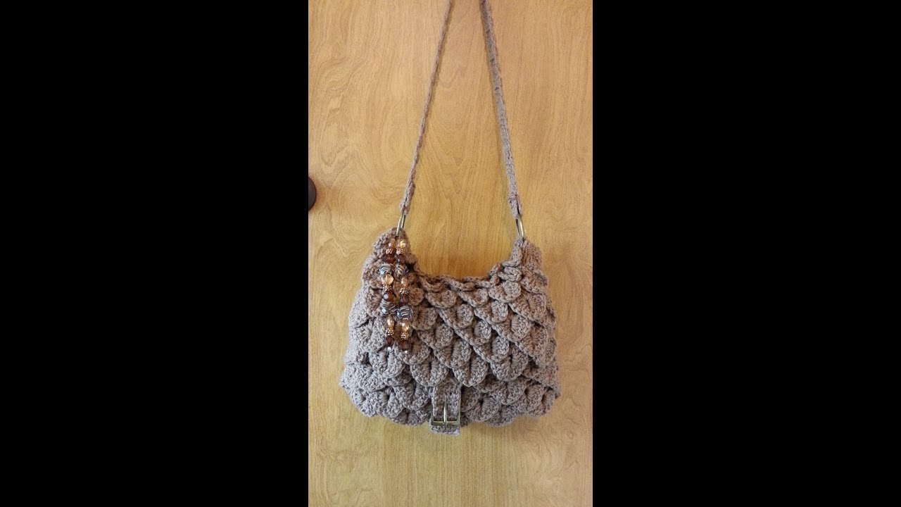 Crochet Handbag Tutorial : How to #Crochet Crocodile stitch Handbag Purse #TUTORIAL - YouTube