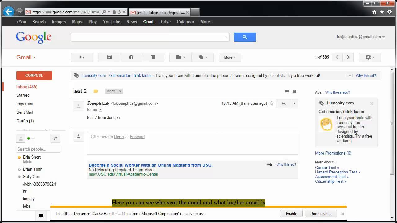 how to find out who owns an email address gmail