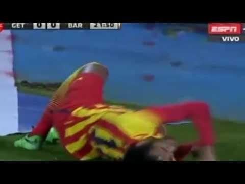 Lesion de neymar getafe vs barcelona copa del rey 16 01 2014wmv