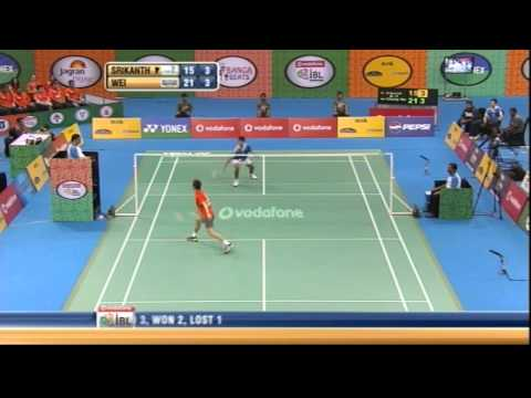 K Srikanth Vs Lee Chong Wei | Men's Singles | Awadhe Warriors Vs Mumbai Masters 2013