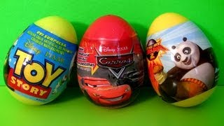 3 Surprise Eggs Disney Cars 2 Pixar Toy Story TOYS Kung Fu