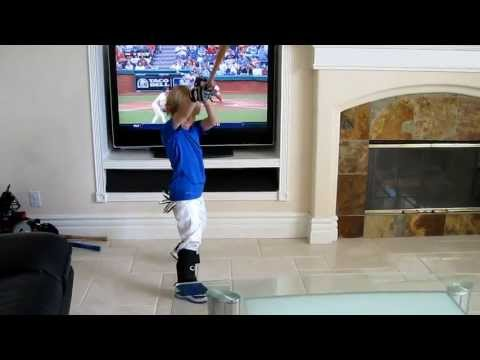Trick Shot Baseball Kid Celebrates Dodgers Clinch MLB Playoffs 2013 - 4 year old Christian Haupt