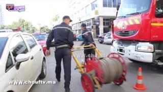 لحظة تدخل عناصر الوقاية المدنية بعد حريق فندق روايال منصور بالبيضاء   خارج البلاطو