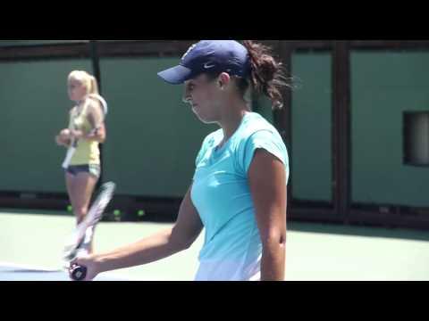 Madison Keys And Agnieszka Radwanska On Stanford Practice Courts