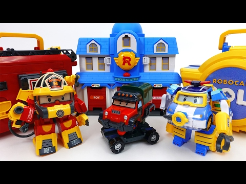 Transforming Police Car Poli Fire Truck Roy Robocar Rescue Station  Transforming Base Playset