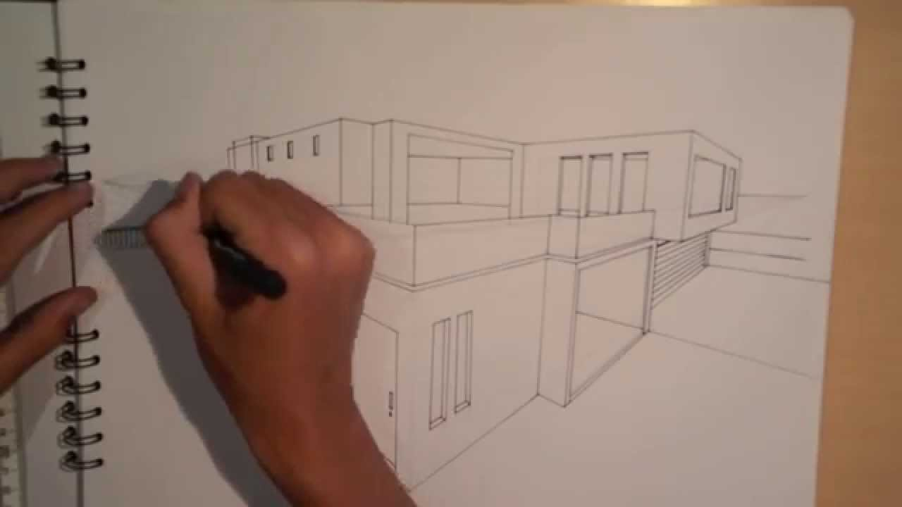 Art architecture design 1 5 lets draw a house in 2 for Architecture modern house design 2 point perspective view
