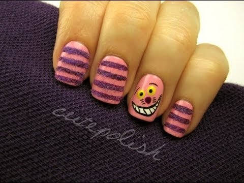 Fuzzy Cheshire Cat Nails!, facebook.com/cutepolish | twitter: @cutepolish | instagram: cutepolish Helloooo I had some lovely viewers request for Alice in Wonderland and Cheshire Cat na...