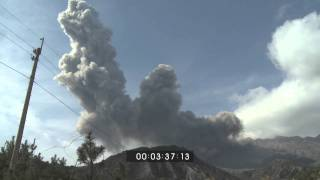 Sakurajima Volcano Explosive Eruptions Stock Footage Screener Full HD 1920x1080 30p