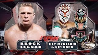 WWE RAW 2014 Brock Lesnar Vs Rey Mysterio & Sin Cara Full