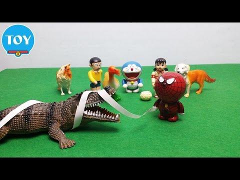 Mèo máy Spiderman người nhện bắt cá sấu quậy phá - hoạt hình doremon chế hài đồ chơi trẻ em