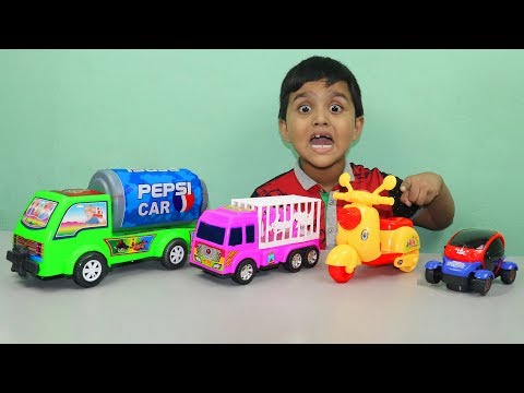 Rehan Learning Sizes Small To Biggest Colors Name Counting Toy Vehicle Truck & Pepsi Car Funny Video
