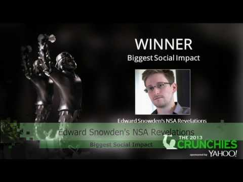 Edward Snowden: Biggest Social Impact | Crunchies 2013