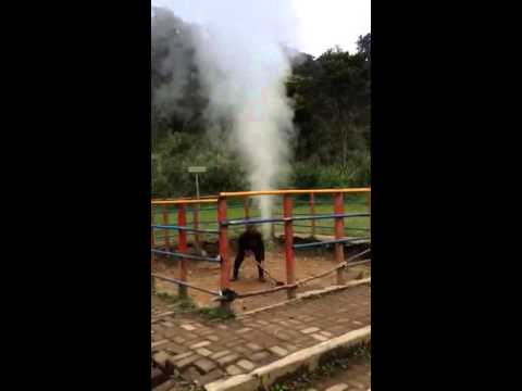 Train whistle by geothermal power
