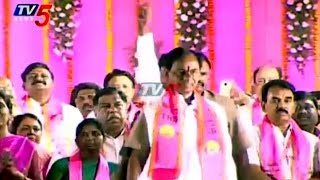 KCR arrives at Warangal TRS meet in style..