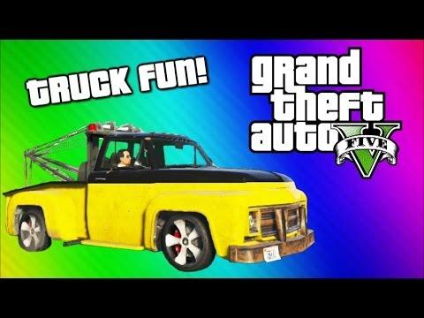 GTA 5 Online Funny Moments Gameplay - Tow Truck, Under Map Glitch, Terroriser Arnold Schwarzenegger