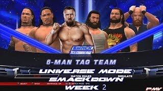 WWE 2K14 Universe Mode Week 2 SmackDown Usos And Bryan Vs