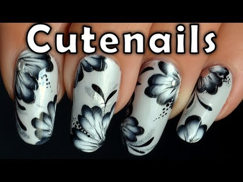 One stroke nail art tutorial : Black and white
