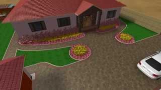 3D prezentácia záhrady- Hnedo-červená dlažba
