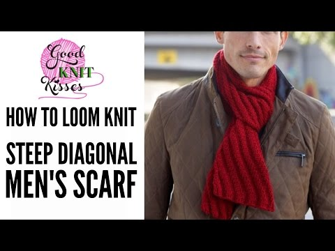How to LOOM Knit Steep Diagonal Scarf featuring Bernat Softee Chunky