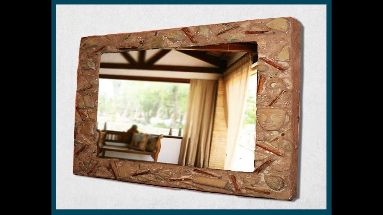 Marco de espejo con caja de pizza imitaci n barro for Hacer marco para espejo