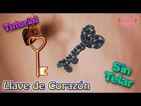 ♥ Tutorial: Llave con forma de Corazón de gomitas (sin telar) ♥