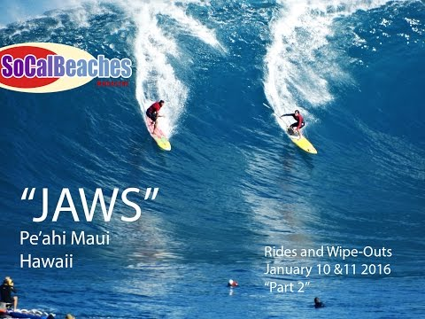 ''Surfing Jaws'' Pe'ahi Maui Hawaii Big Wave Surfer Rides and Wipe-Outs