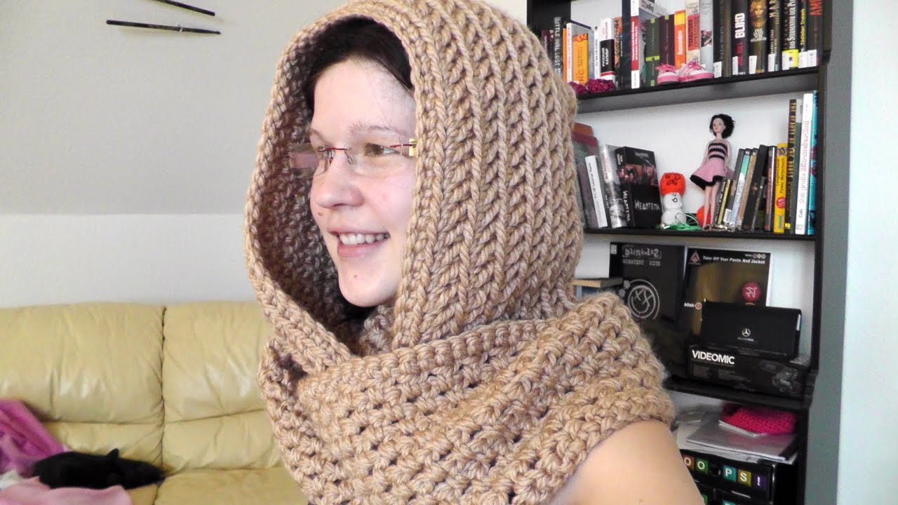 Youtube Crocheting A Scarf : How to crochet a scoodie hooded scarf - Woolpedia - YouTube