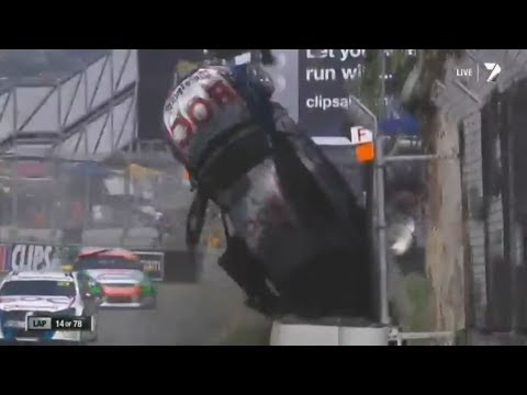 Jason Bright Huge Flip @ 2014 V8 Supercars Adelaide Race 3