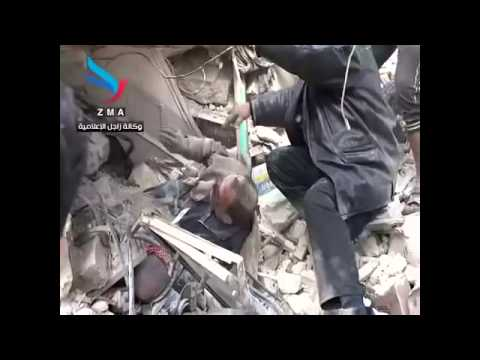 Aleppo - 28/01/2014 - Two people were recoverd under rubbles
