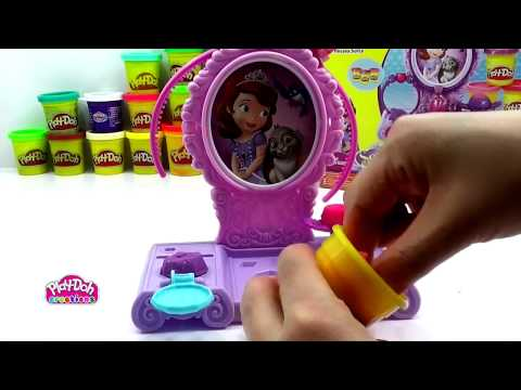 Play Doh Amulet & Jewels Vanity Unboxing Disney Sofia the First Play doh creations 720p