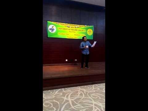 Irfan Hakim, Juara 1 lomba baca puisi Peksimida DKI Jakarta dan Peksiminas 2014.