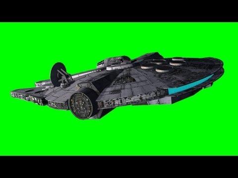 star wars millenium falcon  different flights - green screen effect