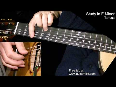 Study in E Minor (Tarrega) - fingerstyle + TAB! Learn to play classic guitar