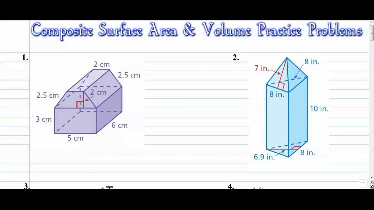 10-9 problem solving surface area This cube has six congruent faces, each with a length and width of 3 cm area of one face = 3 x 3 cm = 9 cm 2 surface area = 6 sides x 9 cm 2 = 54 cm 2.