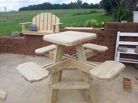 Counter Height Picnic Table : Bar stool picnic table build part 2. - YouTube