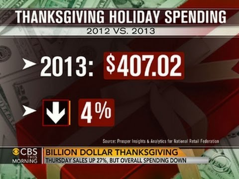 Thanksgiving Day sales up, but overall spending down