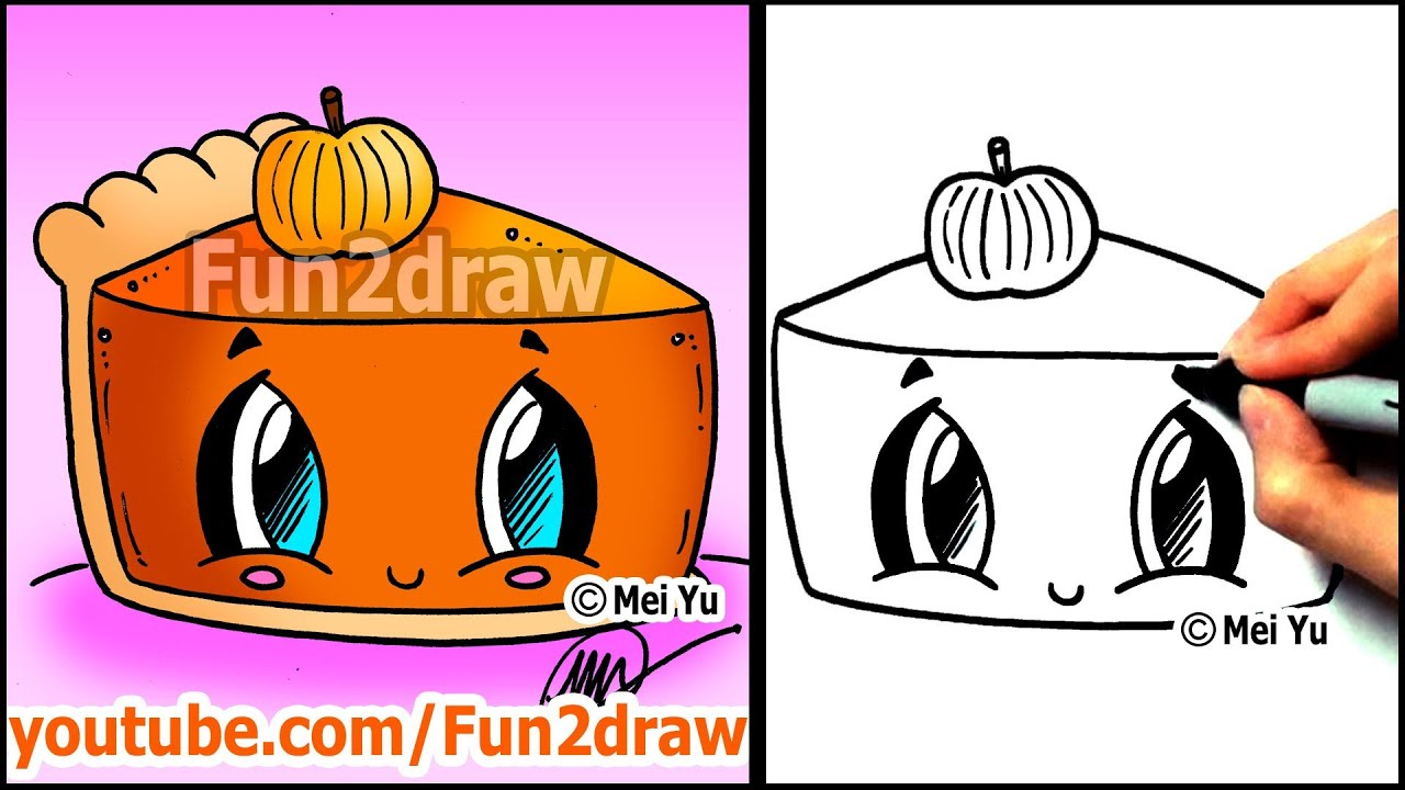 How to draw thanksgiving things cute pumpkin pie for Funny pumpkin drawings
