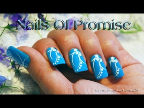 Blue Acrylic Nail Design Live Tutorial. Nails Of Promise.