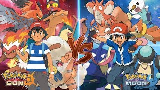 Pokemon Sun and Moon: Ash Vs Ash (Fire Type Vs Water Type)