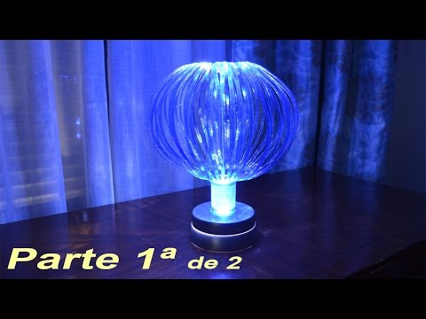 Lampara globo push con materiales reciclados.  1ª Parte