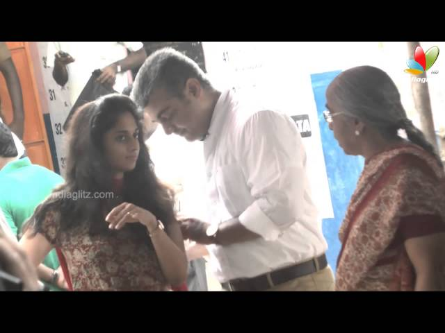 Actor Ajith and his wife Shalini Casted their Vote | Election 2014