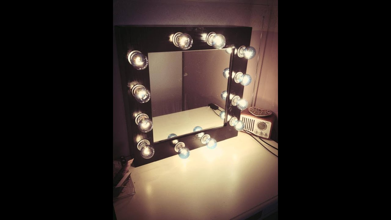 diy makeup mirror with lights youtube. Black Bedroom Furniture Sets. Home Design Ideas