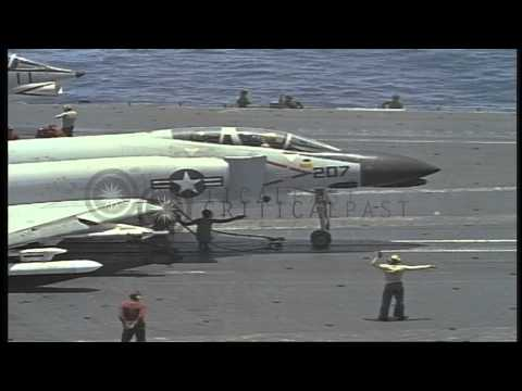 US aircraft take off from USS aircraft carrier ship Constellation (CVA-64) in the...HD Stock Footage