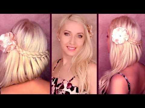 Romantic prom hairstyle for long hair Braided half updo with side swept curls Summer 2012