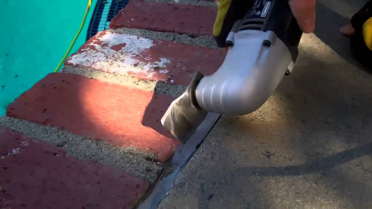 Replacing Old Mastic Between Pool And Decking Youtube